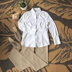 Chico's no iron white button down shirt, 0, NWOT